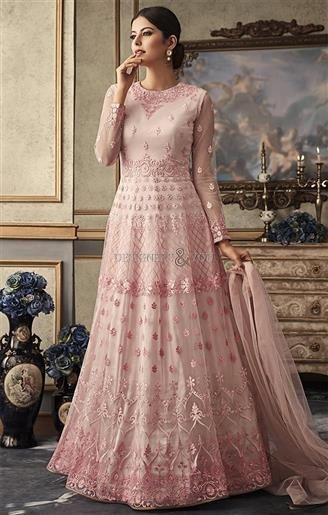 09a54fcc36 image of Captivating Pink Floral Worked Kalidar Anarkali Suit |  DesignersAndYou