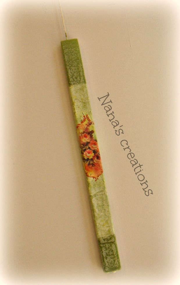 Decoupage Easter candle