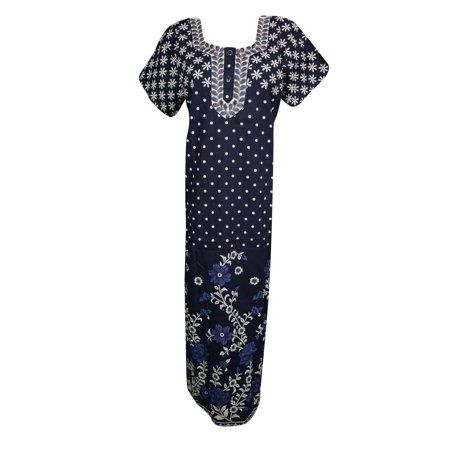 dc10d24007 Mogul Womens Printed Nightwear Caftan Dress Short Sleeves Cotton Sleepwear  Comfy Holiday Evening House Dress - Walmart.com