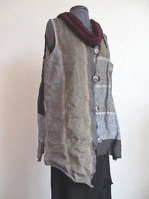 Vest front- love how the fabric is pieced - modge podge of layers and fabrics
