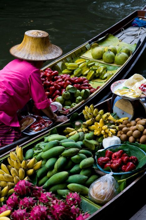 Floating market in Southeast Asia