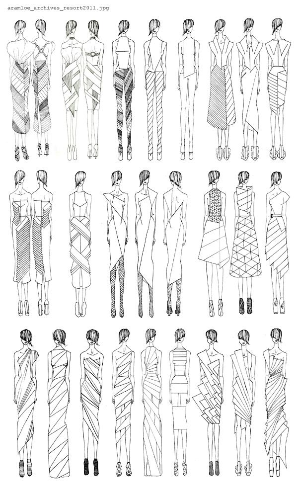 Fashion Sketchbook - geometric dress design sketches - developing a fashion collection; fashion drawings; fashion portfolio // Aramloe