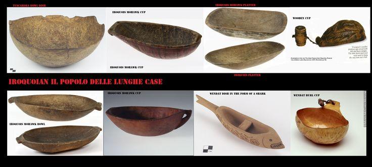 Alcuni esempi di recipienti intagliati nel legno. Gl'Iroquoian usavano vari tipi di ciotole e vassoi di legno
