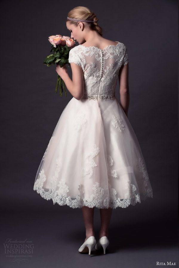 rita mae by alan hannah 2015 bridal short cap sleeve lace wedding dress tea length style 501 back view