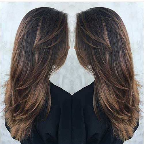 Long Deep Brown Hair with Tawny-Brown Balayage and Lots of Layers