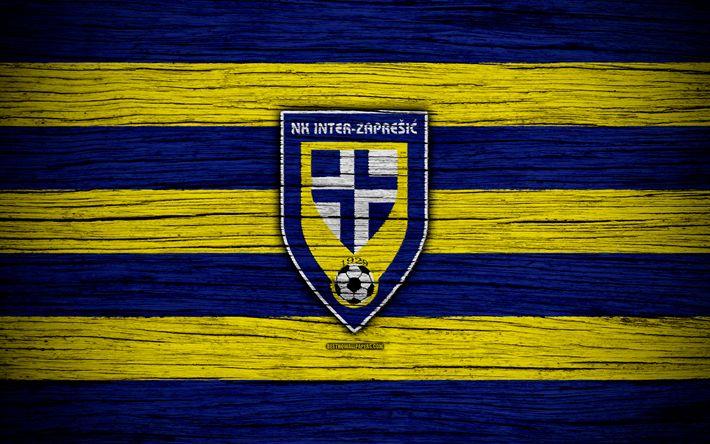 Download wallpapers Inter Zapresic, 4k, HNL, art, soccer, football, Croatia, FC Inter Zapresic, wooden texture, logo, football club, Inter Zapresic FC
