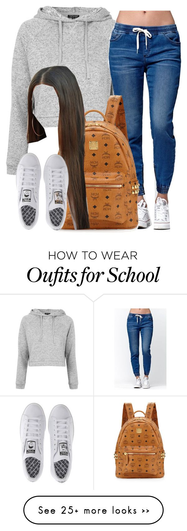 """School "" by trillest-queen on Polyvore featuring Topshop, Bullhead Denim Co., MCM and adidas"