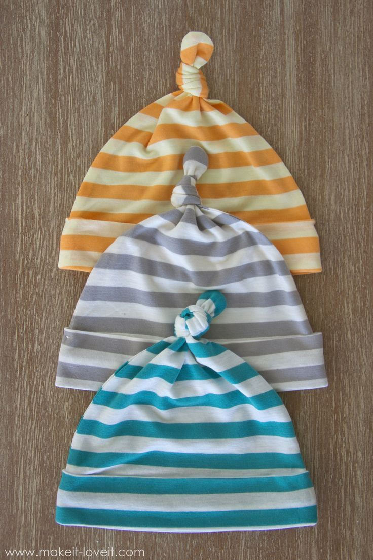Use stretchy knits to create these cute baby hats. Tutorial