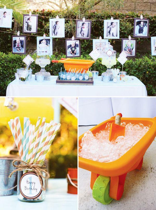 Construction-first-birthday-drink-table Fête Anniversaire Enfant Déco