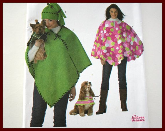 NO SEW Easy Dog poncho pattern and womens by VintagePatternsDepot
