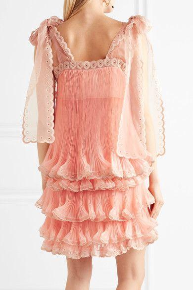 Chloé - Tiered Plissé Silk-organza Mini Dress - Peach - FR36