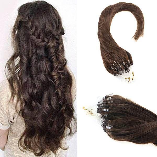 Pre Bonded Micro Ring Dark Brown Human Hair Extensions #4