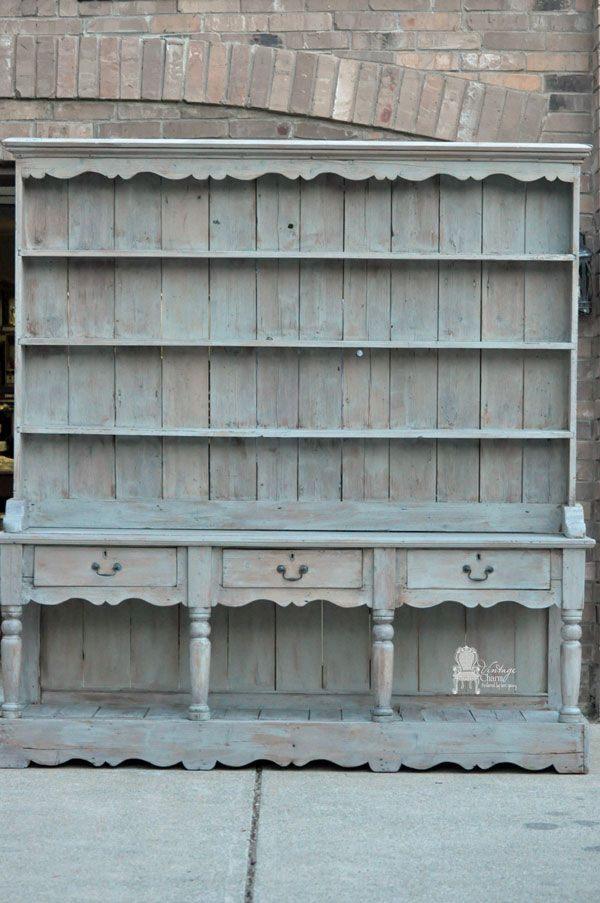 |Gray-washed- Welsh Dresser| cleaned with TSP, paint wash with Maison Blanche Franciscan Gray and clear wax, watered down paint with wet brush, wipe off excess paint