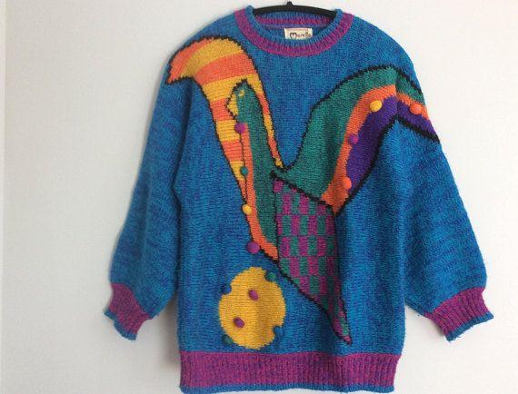 Vintage 80s Marella Sweater Bold Abstract Bird Jumper Raglan