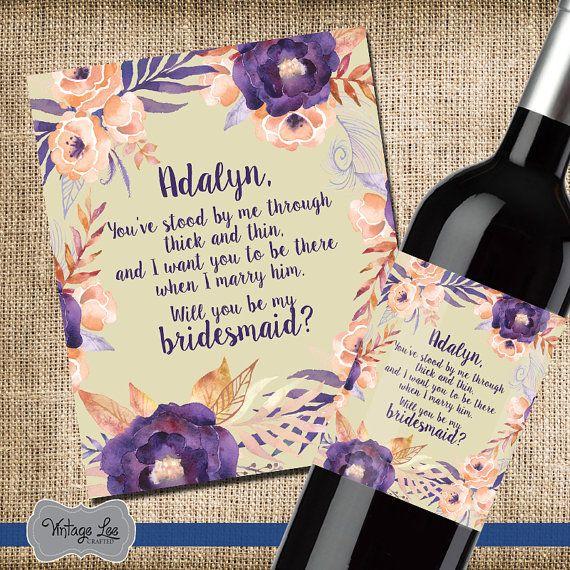 Bridesmaid Poem Wine Label, Custom Wine Label, Wine For Bridesmaids, Asking Bridesmaids, Will You Be My Bridesmaid, Maid of Honor Gift