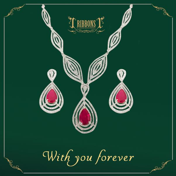 A chic interpretation of the traditional sets, pair these geometric strings of diamonds offset with garnets with an all black ensemble for a magical evening. Product Code: RS005  #Earring #Earing #Wedding #Diamond #Ruby #Trust #RibbonsJewellery #Jewelry #Jewels #Delhi #NewDelhi #Jewelers #RibbonsJewellery #Forever #Set #DiamondSet #Necklace