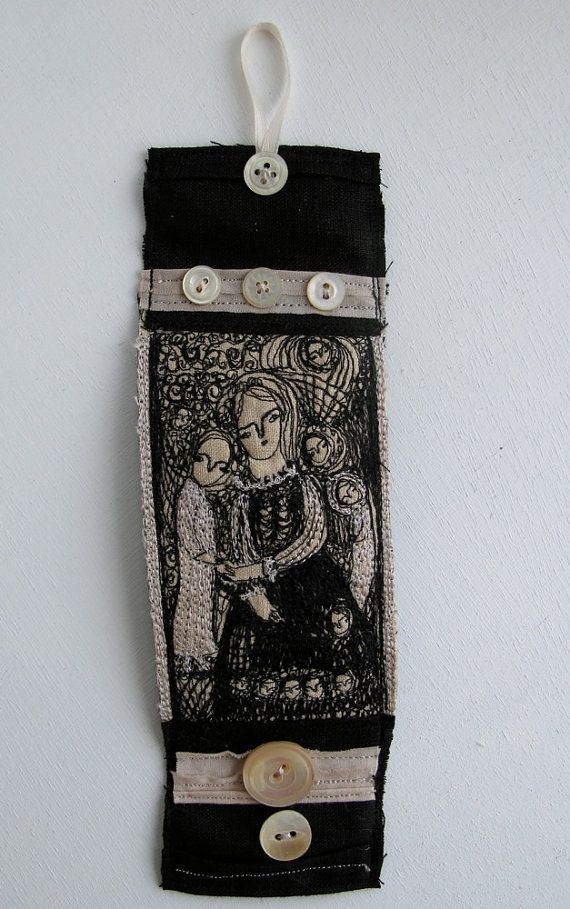 Friendship  embroidery artwork  cuff or bracelet  by cathycullis, £50.00