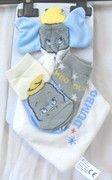 doudou DISNEY BABY DUMBO bleu et blanc avec 2 paires de chaussettes assorties, taille naissance, seulement 10 €