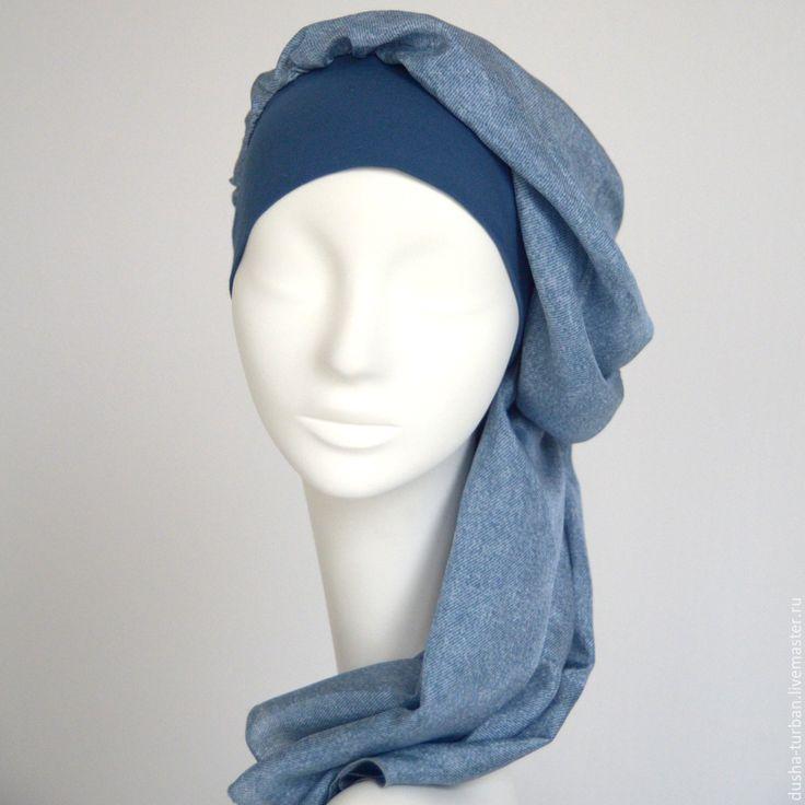 Купить Головной убор БРИЗ - синий, однотонный, шапка, шапка женская, бандана