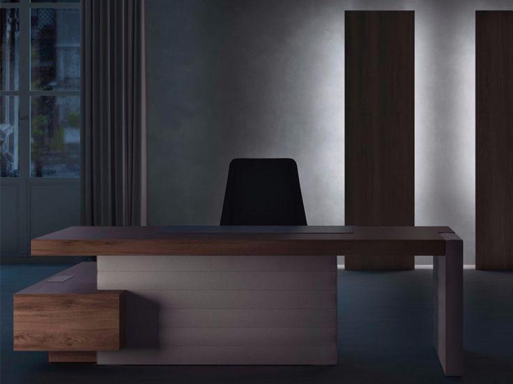 Escritorio de oficina ejecutivo de esquina con estantes JERA | Escritorio de oficina con estantes by Las Mobili