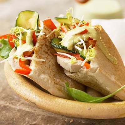This Chicken Pita is loaded with protein and fresh vegetables! Plus, it's quick and easy to make. | http://www.health.com/health/gallery/0,,20656765_7,00.html