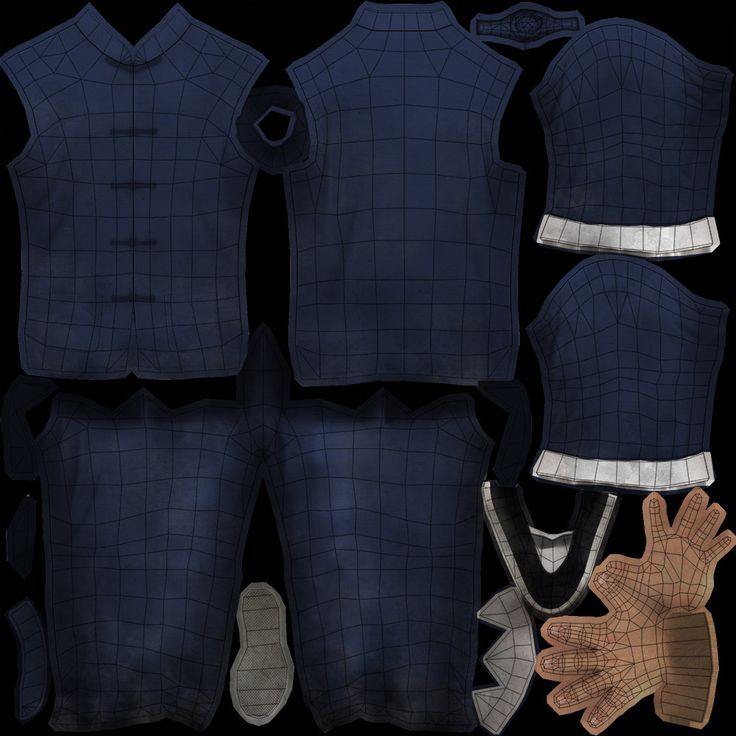 Low polygon blue chinese suit texture and uv