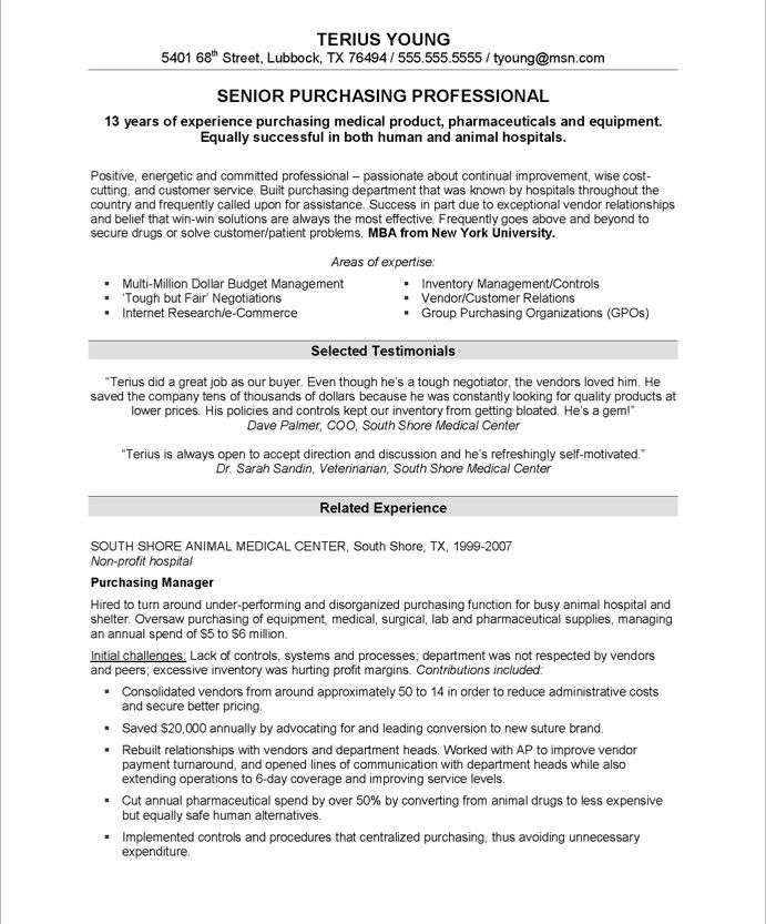 purchasing manager page1 - Business Management Resume
