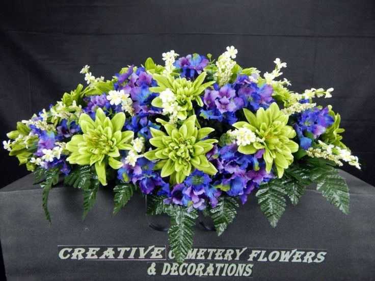 Double Cemetery Flower Memorial Headstone/Tombstone Saddle/ Grave Pillow