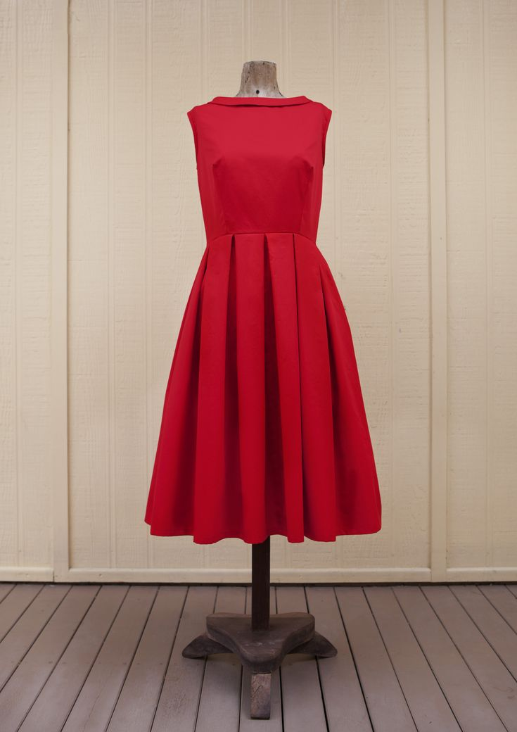 Get the Free Pattern for this 50's inspired dress + 7 more free clothing patterns, all w/instructions and in pattern sizes S-XL. More cute dresses, a playsuit, skirt, cape and shorts ~ all free!