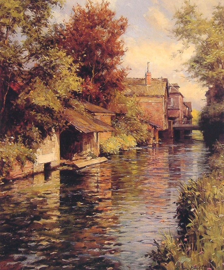 Sunny Afternoon on the Canal by Louis Aston Knight, Oil on canvas