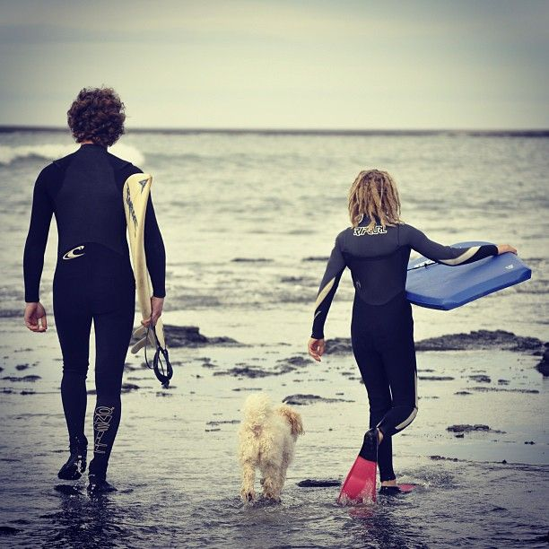 My boys heading out for a surf the other day. Molly not wanting to be left behind.