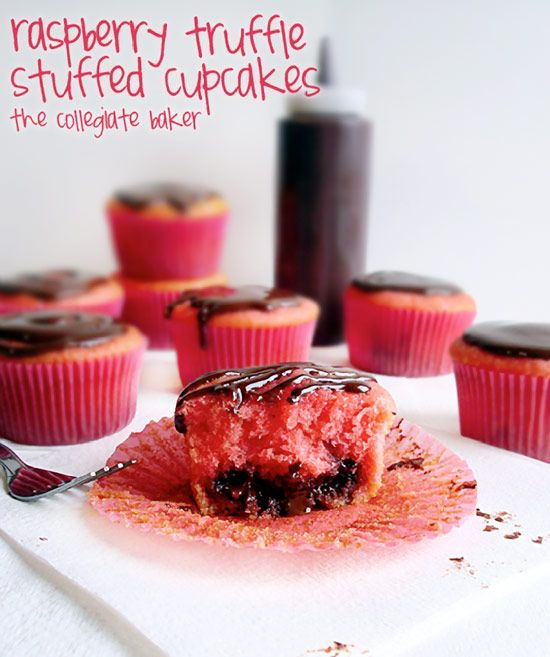 ... milk chocolate truffles, topped with a chocolate glaze! #cupcakerecipe