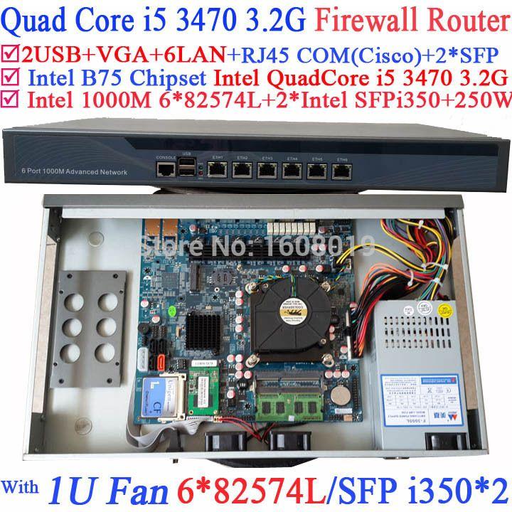 19 rack mount 1U Firewall Router Barebone PC with 6*1000M 82574L Gigabit Nics 2* intel i350 SFP Intel Quad Core i5 3470 3.2Ghz