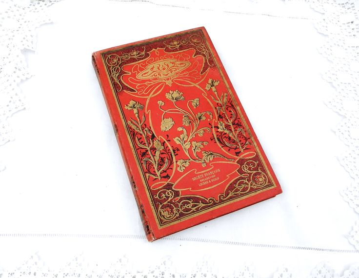 """Antique French Book with a Red and Gold Art Nouveau Cover """" Chez les Chinois"""" about China and the Chinese Dating From the 19th Century by VintageDecorFrancais on Etsy"""