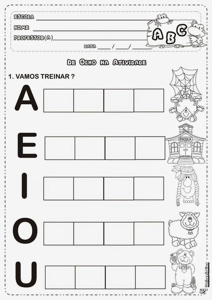 Atividades Com Vogais Para Alfabetização Infantil - Cia de Alfabetização