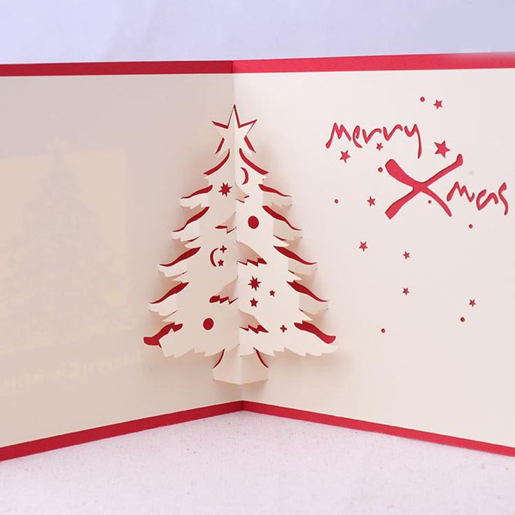 3d Christmas Cards Postcard Greeting Thank You Cards Origami 3d Post Card Vintage Pop Pop Card with Envelope 2016 Christmas Tree