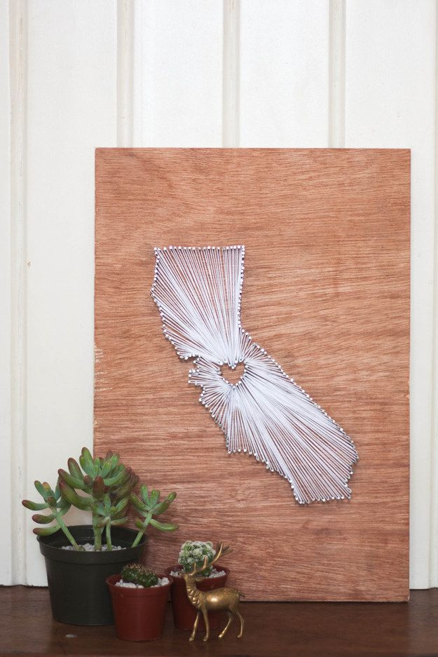 Rep your hometown with this adorable state outline.   28 Super Easy Yarn DIYs That Require Zero Knitting