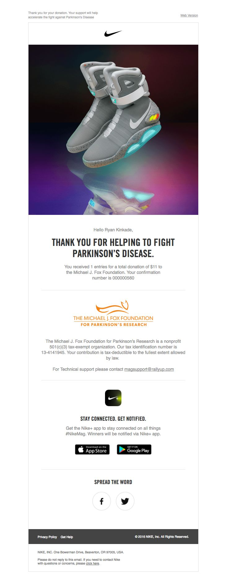 Nike sent this email with the subject line: Your Michael J. Fox Foundation donation
