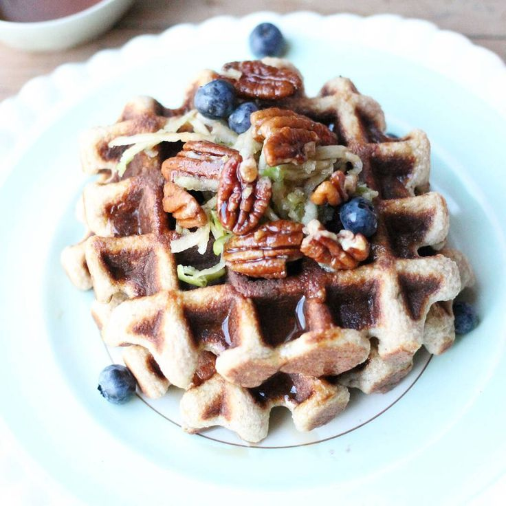 Fluffy apple cinnamon waffles with maple pecans.