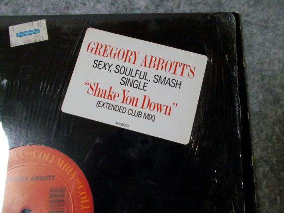 "Gregory Abbott- Shake You Down. 1986 Columbia Records 12"" 33 rpm single.  AbqArtistry"