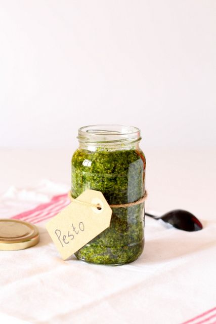 Easy homemade pesto recipe with wild garlic, Parmesan, cashew nuts and olive oil.
