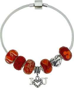 Made Up Sterling Silver Red Beaded Bracelet.