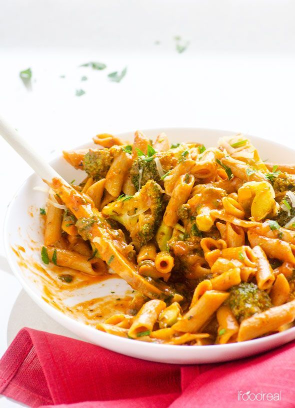 Healthy One Pan Penne with Broccoli Recipe -- Vegetarian 20 minute dinner that your kids will love. Use any of their favourite veggies.