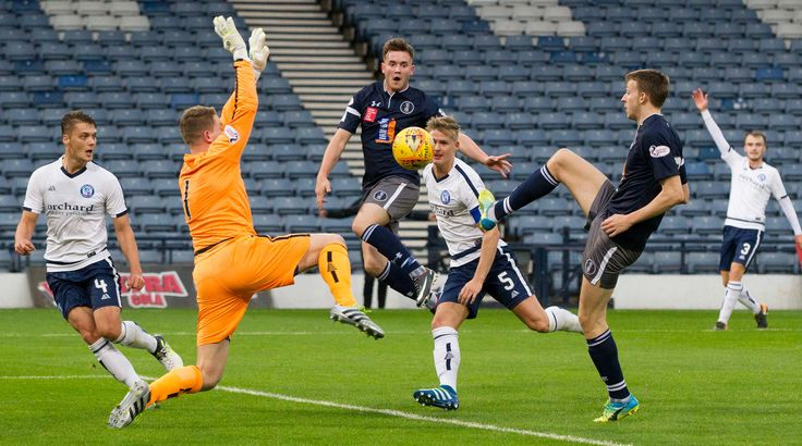 Queen's Park's Luke Donnelly scores during the SPFL League One game between Queen's Park and Forfar Athletic.
