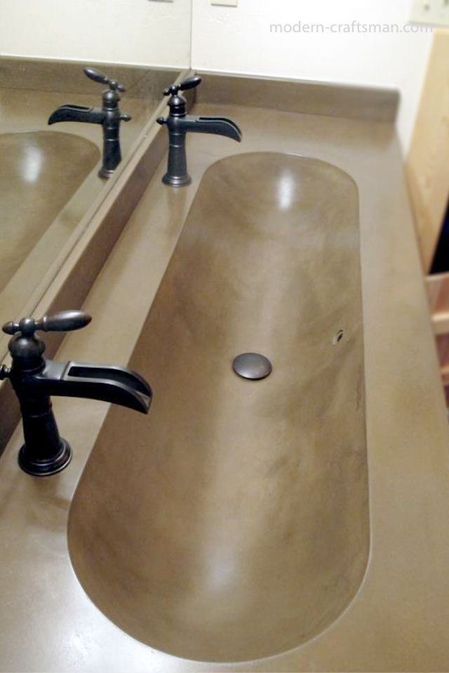 Awesome modern concrete double vanity bathroom sink by Modern Craftsman Tyler Blaine