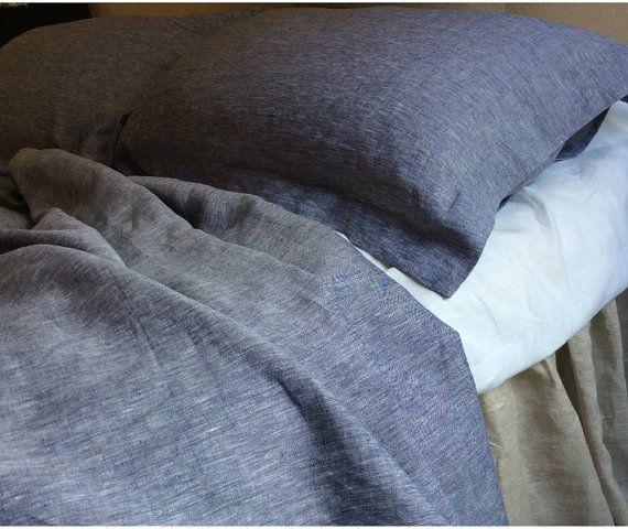 Denim blue duvet cover made of 100% ultra par CustomLinensHandmade