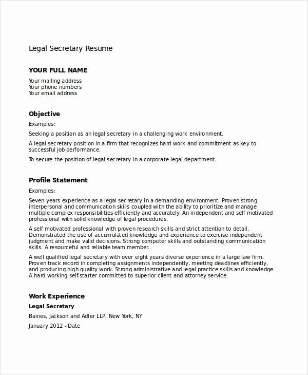 Legal Secretary Resume Samples Best Of 12 Secretary Resume Templates Pdf Doc Resume Resume Template Free Resume Examples