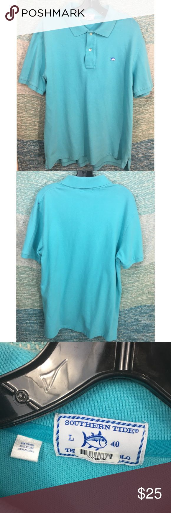 """Southern Tide Blue Skipjack Polo Dress Shirt Excellent used condition, without flaws.  Classic style, lightweight cotton Blend.   29"""" Long, 44"""" bust. Southern Tide Shirts Polos"""