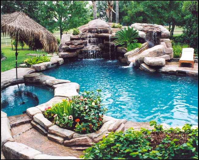 Jacuzzi In My Backyard : pool  hot tub in a natural setting + fruity umbrella drinks and