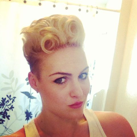 Super short hair- undercut with pin-up curls. Retro and fun!